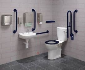 Close Coupled Disabled Toilet Pack with Colostomy Shelf - DTUK19B-C Eco Blue