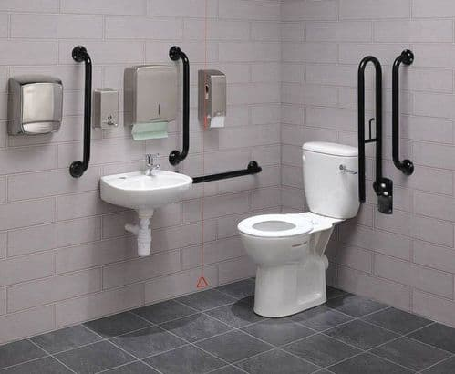Close Coupled Disabled Toilet Pack: DTUK18BK Eco Black