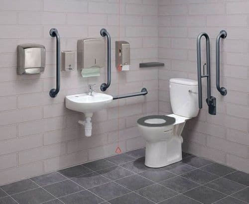Close Coupled Disabled Toilet Pack with Colostomy Shelf - DTUK18G-C Eco Grey