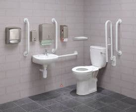 Close Coupled Disabled Toilet Pack with Colostomy Shelf - DTUK18W-C Eco White