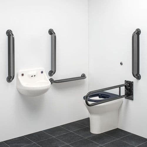 DTUK151G Ligature Resistant Disabled Toilet Pack with Removable Swing Arm - Grey