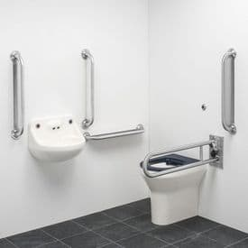 DTUK151S Ligature Resistant Disabled Toilet Pack with Removable Swing Arm - Stainless Steel