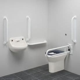 DTUK151W Ligature Resistant Disabled Toilet Pack with Removable Swing Arm - White