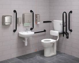 Low Level Disabled Toilet Pack with Colostomy Shelf - DTUK17BK-C Eco Black