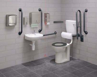 Low Level Disabled Toilet Pack with Colostomy Shelf - DTUK17G-C Eco Grey