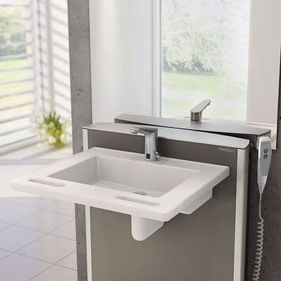 Pressalit MATRIX SMALL Electrically Height-Adjustable Wash Basin - Wired Remote Control
