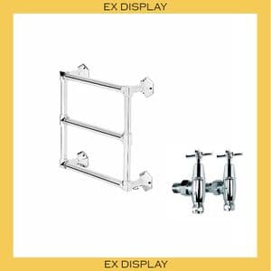 EX DISPLAY - Bard & Brazier Criterion 600x600mm Heated Towel Rail + LB Mackintosh Stopcocks - Nickel