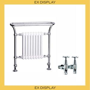 EX DISPLAY - Bard & Brazier Florian 900x800mm Heated Towel Rail with LB Connaught Stopcocks - Nickel