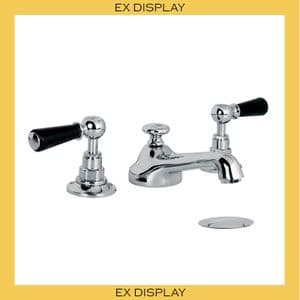 EX DISPLAY - BL1220 Lefroy Brooks Classic Black Lever Three Hole Basin Mixer Tap with Waste - Chrome