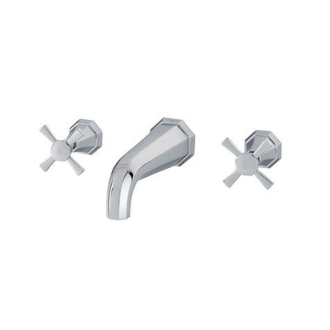 3181 Perrin & Rowe 3-hole Wall Mounted Bath Filler Tap With Crosstop Handles