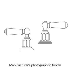 """3270 Perrin & Rowe Pair 1/2"""" Deck Valves With Lever Handles"""