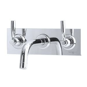 3334 Perrin & Rowe Langbourn Wall Mounted Three Hole Basin Mixer Tap with Backplate - Lever