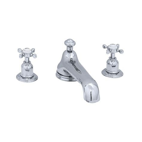 3736 Perrin & Rowe Three Hole Bath Tap Set With Low Profile Spout Crosshead