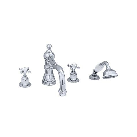 3746 Perrin & Rowe Four Hole Bath Tap Set With Country Spout Crosshead