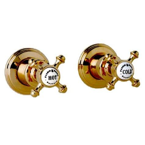 3773 Perrin & Rowe ¾ inch Wall Valves (Pair) With Cross Handles