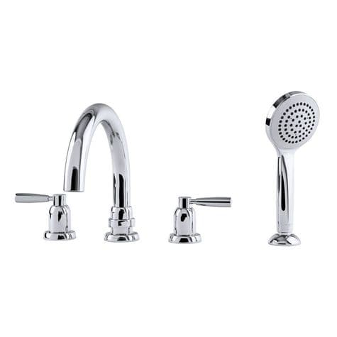 3975 Perrin & Rowe Langbourn Deck Mounted Four Hole Tubular Bath Set with Handshower - Lever