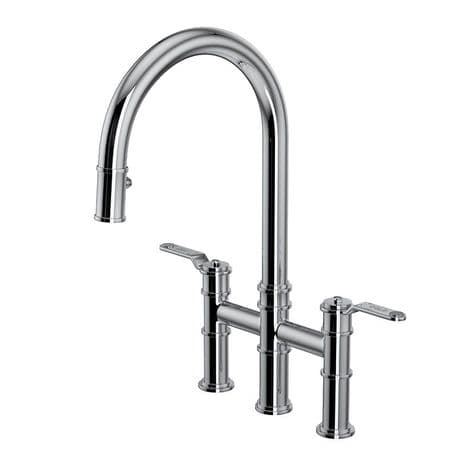 4549HT Perrin & Rowe Armstrong Kitchen Bridge Mixer Tap with Pull Down Rinse - Textured Handle