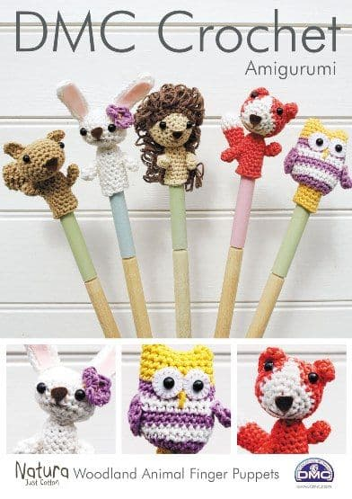 15213 DMC Woodland Animal Finger Puppets Natura Crochet Pattern