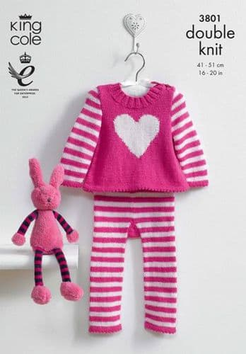 3801 King Cole Baby Heart Leggings and Tunic Knitting Pattern