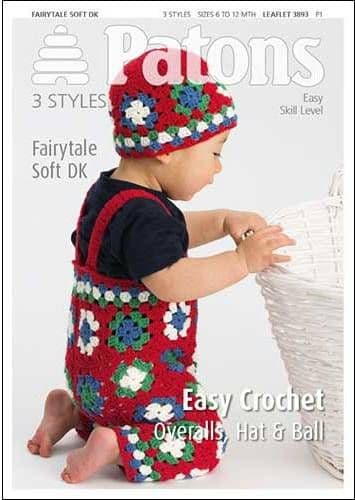 3893 Patons Easy Crochet Overalls Hat Ball Fairytale Soft DK Pattern