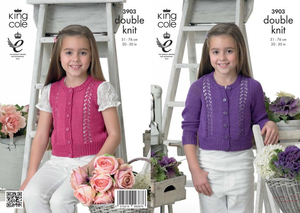3903 King Cole Giza DK Girls Cardigan and Waistcoat Knitting Pattern