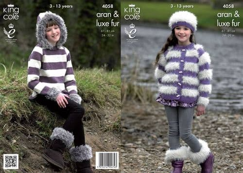 4058 King Cole Luxe Fur Aran Jacket Sweater Hat and Boot Toppers Knitting Pattern