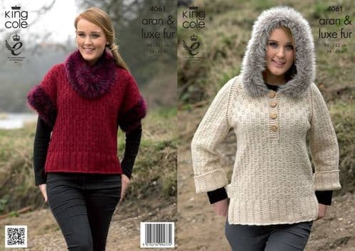 4061 King Cole Luxe Fur Aran Sweater with Hood and Top with Cowl Knitting Pattern