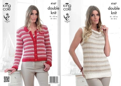 4167 King Cole Giza DK Cardigan and Top Knitting Pattern