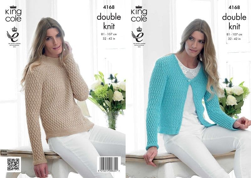 4168 King Cole Giza DK Cardigan and Sweater Knitting Pattern