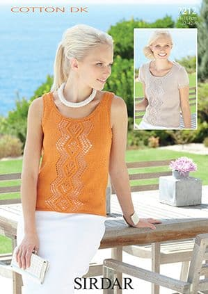 7212 Sirdar Cotton DK Top and Vest Knitting Pattern