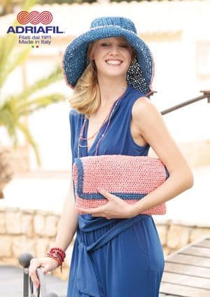 Adriafil Rafia GLADIOLUS Hat and Clutch Crochet Pattern