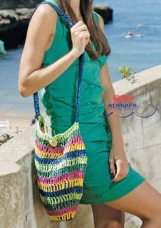Adriafil Rafia STRIPE Bag Crochet Pattern 3036