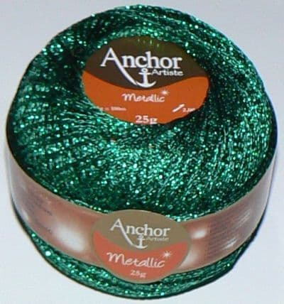 Anchor Artiste Metallic Crochet No.5 Thread 322 GREEN