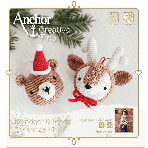Anchor Fino Reindeer Teddy Christmas Crochet Kit