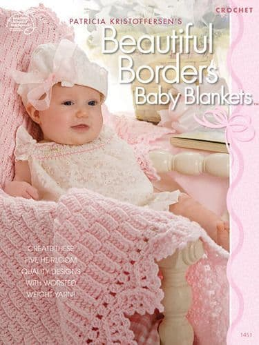 Beautiful Borders Baby Blankets Crochet Pattern Book 1451 ASN DISCONTINUED
