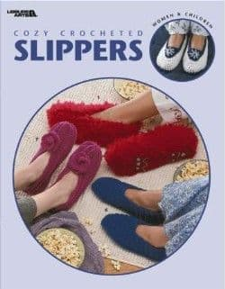 Cozy Crocheted SLIPPERS Pattern Book LA 3562 DISCONTINUED