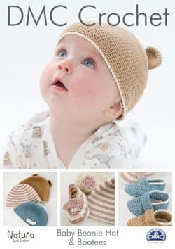 DMC Baby Beanie Hat and Bootees Crochet Pattern 15045L/2