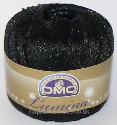 DMC Lumina Metallic Crochet Thread L310 Black