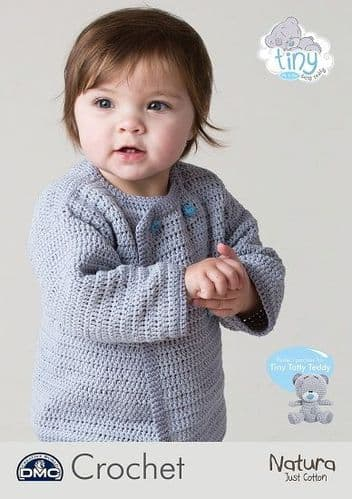 DMC Natura Tiny Tatty Teddy Baby Cardigan Crochet Pattern 15432