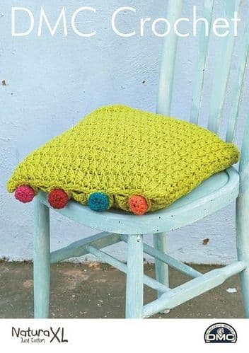 DMC Natura XL Cushion with Crochet Buttons Pattern 15376