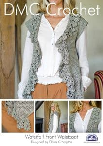 DMC Waterfall Front Waistcoat Crochet Pattern 14928L/2 REDUCED