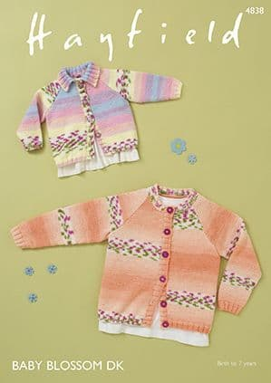 Hayfield Baby Blossom DK Cardigans Knitting Pattern 4838