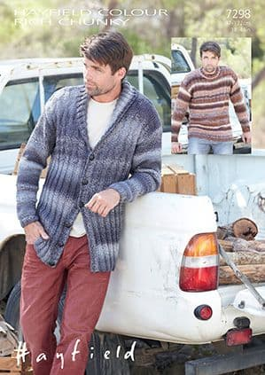 Hayfield Colour Rich Chunky Mens Cardigan and Sweater Knitting Pattern 7298