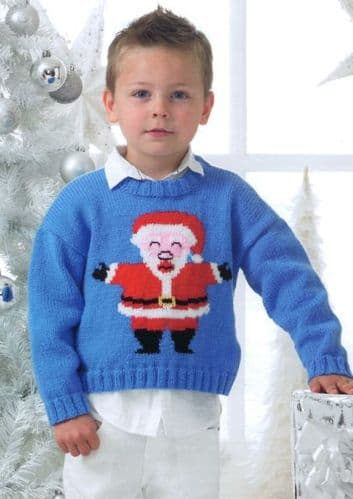 James C Brett DK Christmas Santa Kids Sweater Knitting Pattern JB194