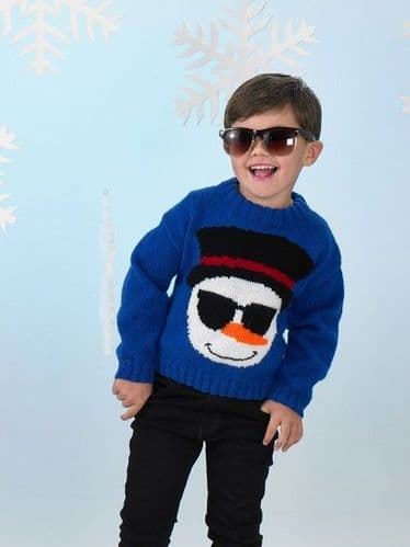 James C Brett DK Christmas Snowman Kids Sweater Knitting Pattern JB532