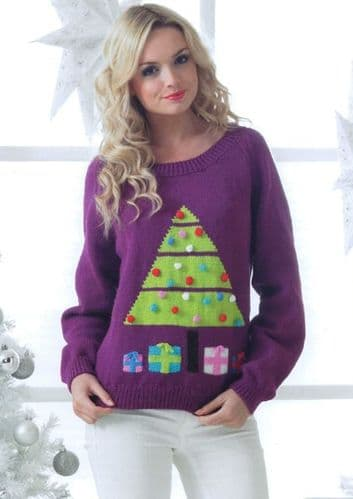 James C Brett DK Christmas Tree Sweater Knitting Pattern JB189
