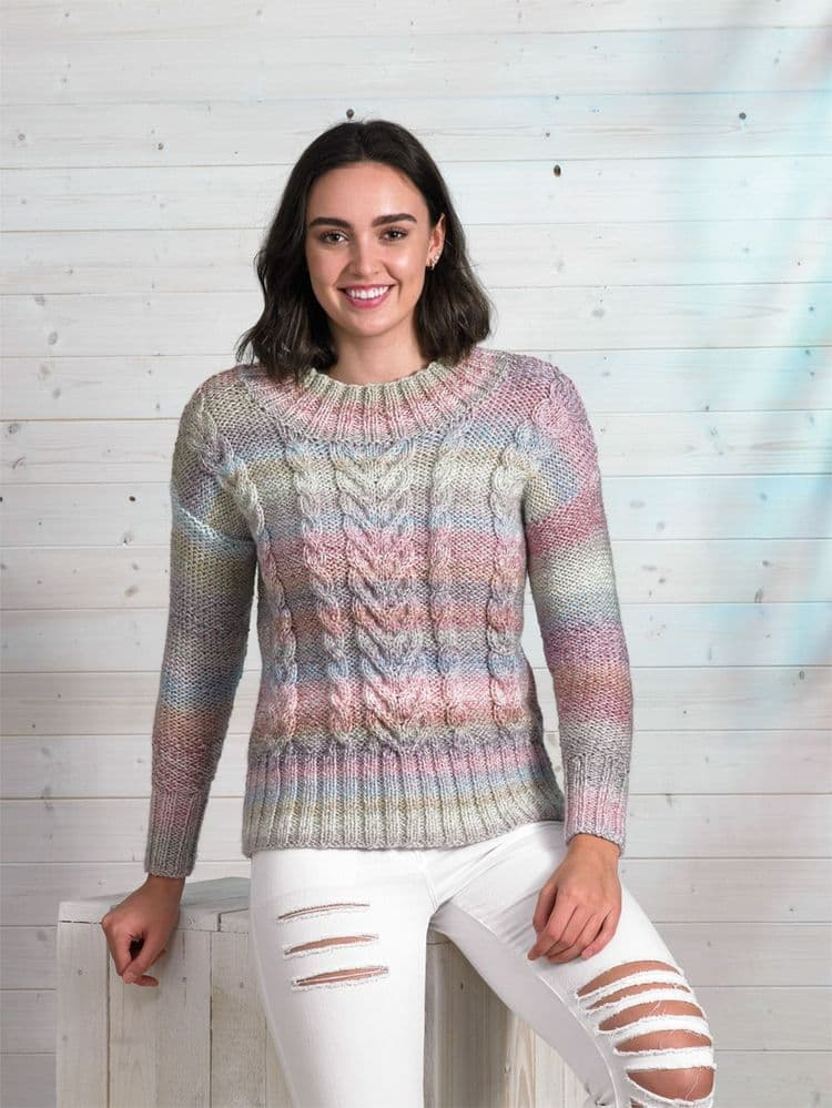 James C Brett Marble Chunky Cable Sweater Knitting Pattern JB697