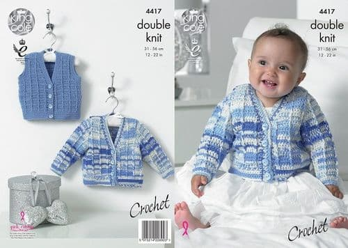 King Cole Cherish DK Baby Cardigan Waistcoat Crochet Pattern 4417 Cherished