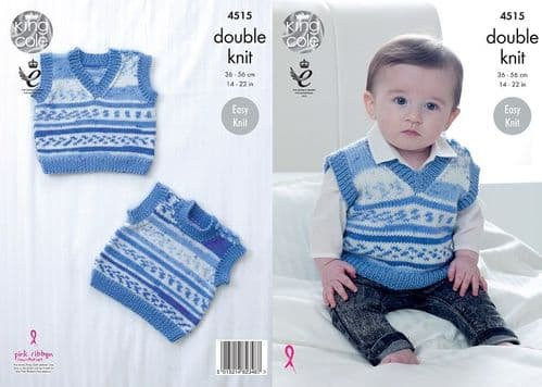 King Cole Cherish DK Baby Slipovers Knitting Pattern 4515