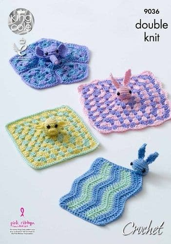 King Cole Cherished DK Baby Comfort Blanket Crochet Pattern 9036